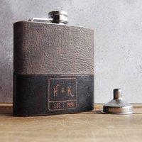 Customised Monogram Leather Hip Flask