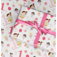 1st Birthday Wrapping Paper Roll Or Folded Fairy V1