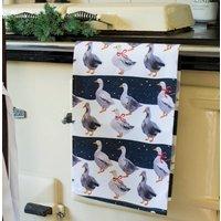 Christmas Geese Tea Towel