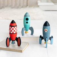 Three Wooden Rocket Construction Toys