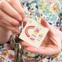 'Actually I Can' Positive Rainbow Wooden Keyring