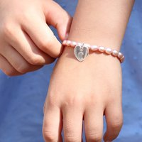 Girls Personalised Silver Charm And Hope Pearl Bracelet, Silver