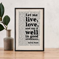 Sylvia Plath 'Good Sentences' Writer's Gift Quote Print