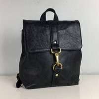 Handcrafted Small Black Leather Backpack