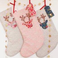 Padded Reindeer Liberty Christmas Stocking