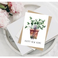 Happy New Home Plant Pot Card