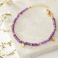 Amethyst Beaded Bracelet With Hammered Gold, Gold