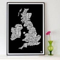 British Gastronomy Map Print, Black/Grey/Blue