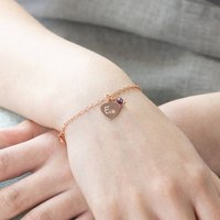 Personalised Rose Gold Heart Bracelet, Gold