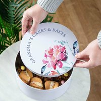 Watercolour Floral Personalised Cake Tin