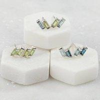 Sterling Silver Stud Earrings London And Blue Topaz, Silver