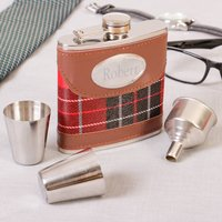 6oz. Tartan Leather Hip Flask And Accessories