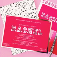 Personalised Pink And Silver Bat Mitzvah Invitation