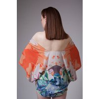 Handmade Silk Kimono, Hand Drawn Hummingbird