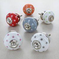 Polka Stars Ceramic Door Knobs Handles, Grey/White/Red
