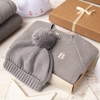 Luxury Hound Bobble Hat And Cardigan Baby Gift Box