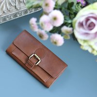 Large Leather Purse Wallet, Dark Tan