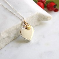Personalised Heart Locket Necklace Sterling Silver, Silver