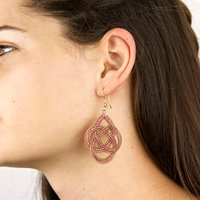 Woven Red Knot Gold Statement Earrings, Gold