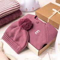 Luxury Dusky Rose Bobble Hat And Cardigan Baby Gift Box