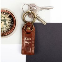 Personalised Fathers Day Leather Keyring, Chestnut/Tan/Dark Chocolate