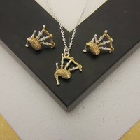 Bagpipe Necklace And Earrings Set