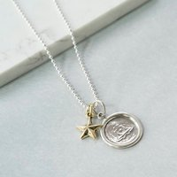 Silver Wax Seal Necklace With Brass Star, Silver