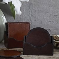 Six Round Or Square Leather Coasters. Personalised