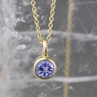 Tanzanite December Birthstone Gold Solitaire Pendant, Gold