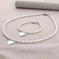 Girls Personalised Hope Necklace And Bracelet Set, Ivory/Pink