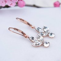 Rose Gold Rhinestone Cluster Earrings, Gold
