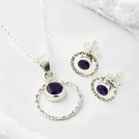 Infinity Bliss Amethyst Necklace And Earring Set