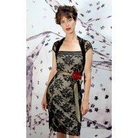 Corsage Detail Black Lace Christmas Dress
