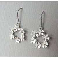 Bouquet Silver Drop Earrings, Silver