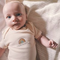 Rainbow Embroidered Natural Baby Bodysuit