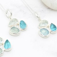 Aquamarine And Apatite Handmade Gemstone Pendant