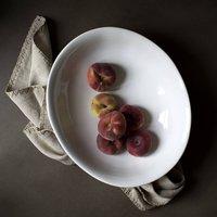 White Salad Or Serving Bowl, Blue/Grey/White