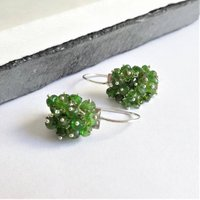 Chrome Diopside Earrings In Sterling Silver, Silver