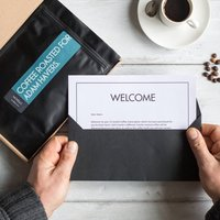 Personalised Monthly Coffee Subscription Gift, Red/Blue/Teal