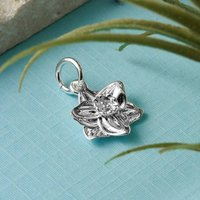 Daffodil Solid Silver And Gold Charm, Silver
