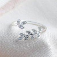 Adjustable Sterling Silver Crystal Fern Leaf Ring, Silver
