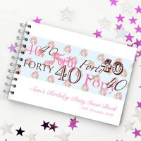 Personalised 40th Birthday Guest Book, White/Black