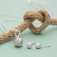 Silver Love Knot Jewellery Set With Stud Earrings, Silver