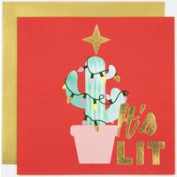 It's Lit Cactus Tree Christmas Greeting Card