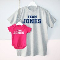 Team Surname Father And Baby T Shirt Set, Red/Royal Blue/Blue