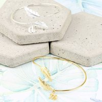 Feather Bangle With Initial Charm, Silver/Gold