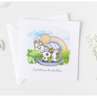 New Baby Card For Rainbow Baby, Christening Card ..4v6a