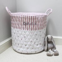 Personalised Pink Stripe And Floral Quilted Toy Bag
