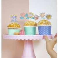 Spring Time Easter Flower Cupcake Toppers