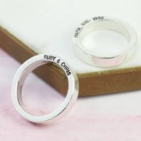 Personalised Bold Sterling Silver Band Ring, Silver
